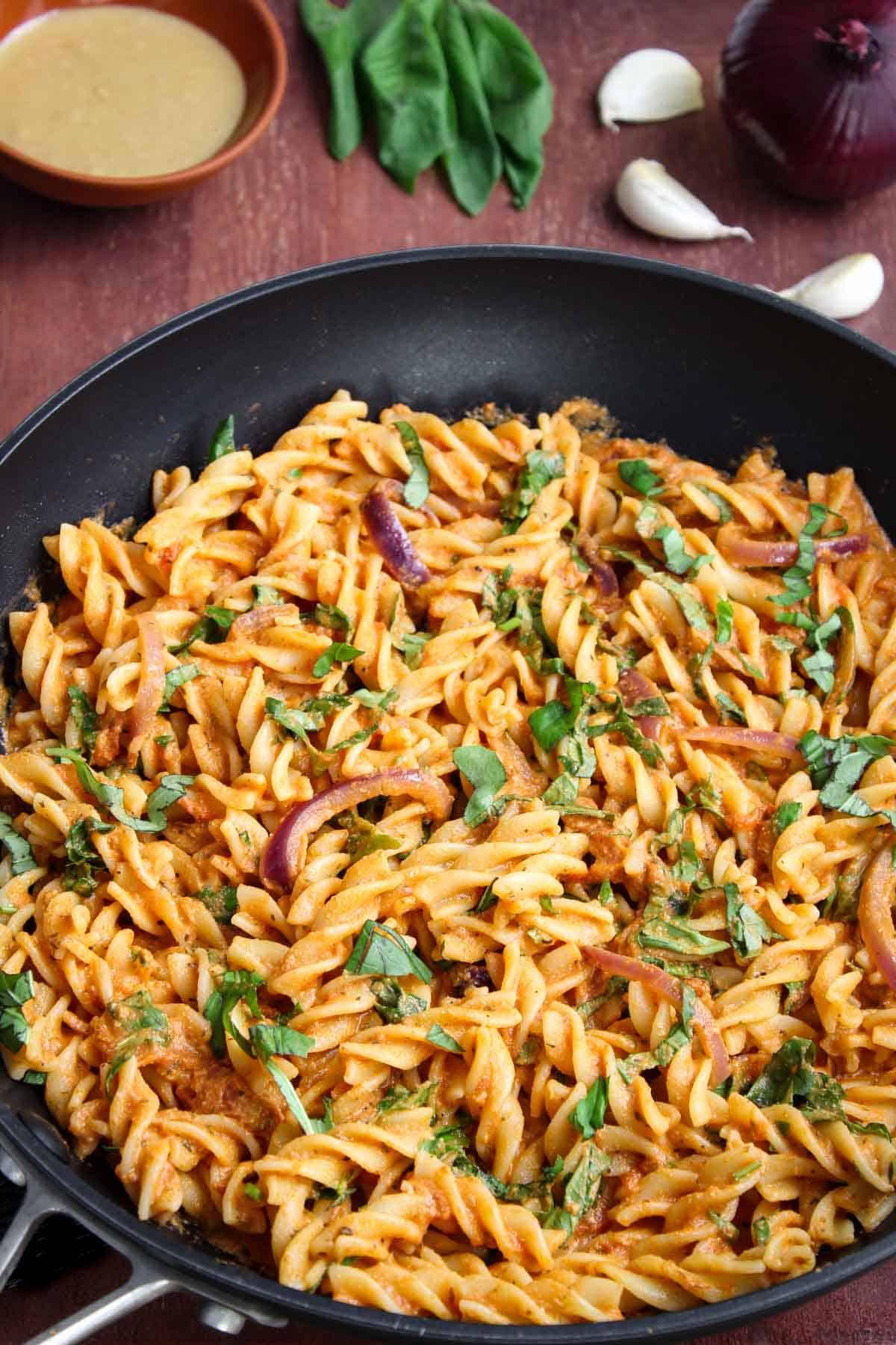 Tomato Tahini Pasta in Pan with Fresh Basil