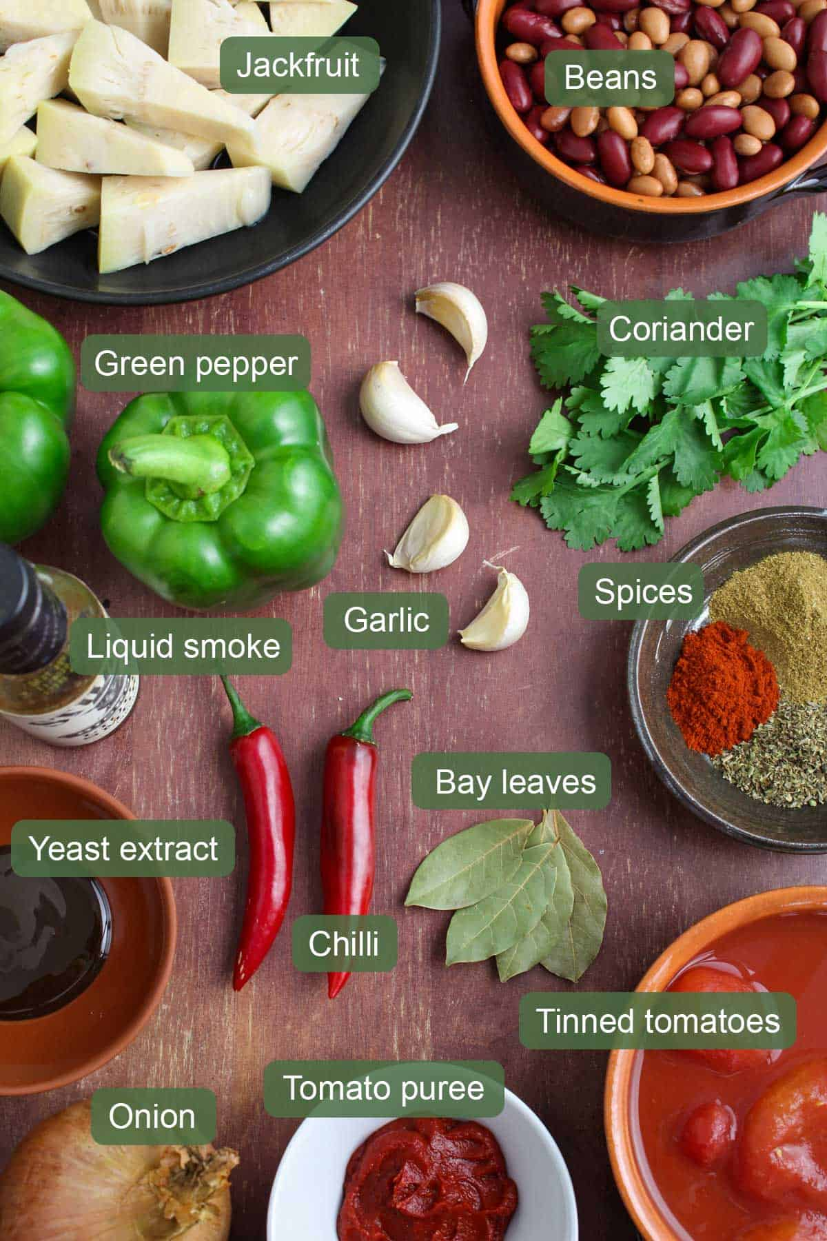 List of Ingredients for Jackfruit Chilli