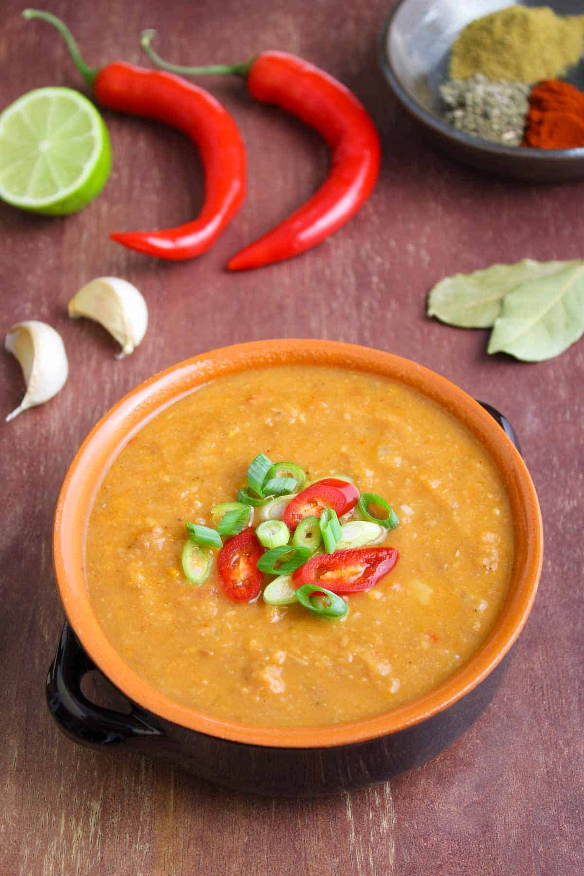 Mexican Pinto Bean Soup with Chilli and Spring Onions