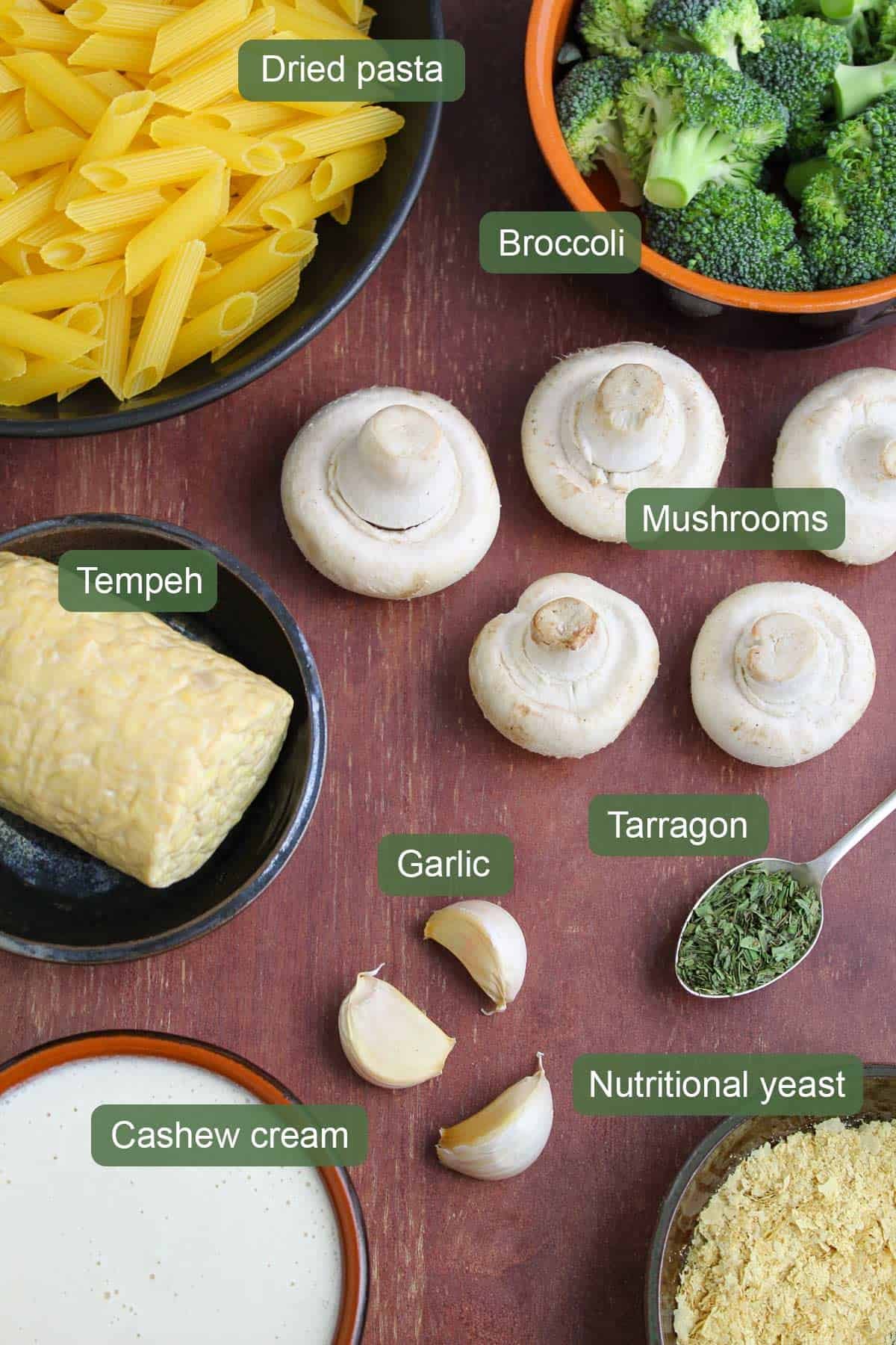 List of Ingredients to Make Creamy Tempeh Pasta
