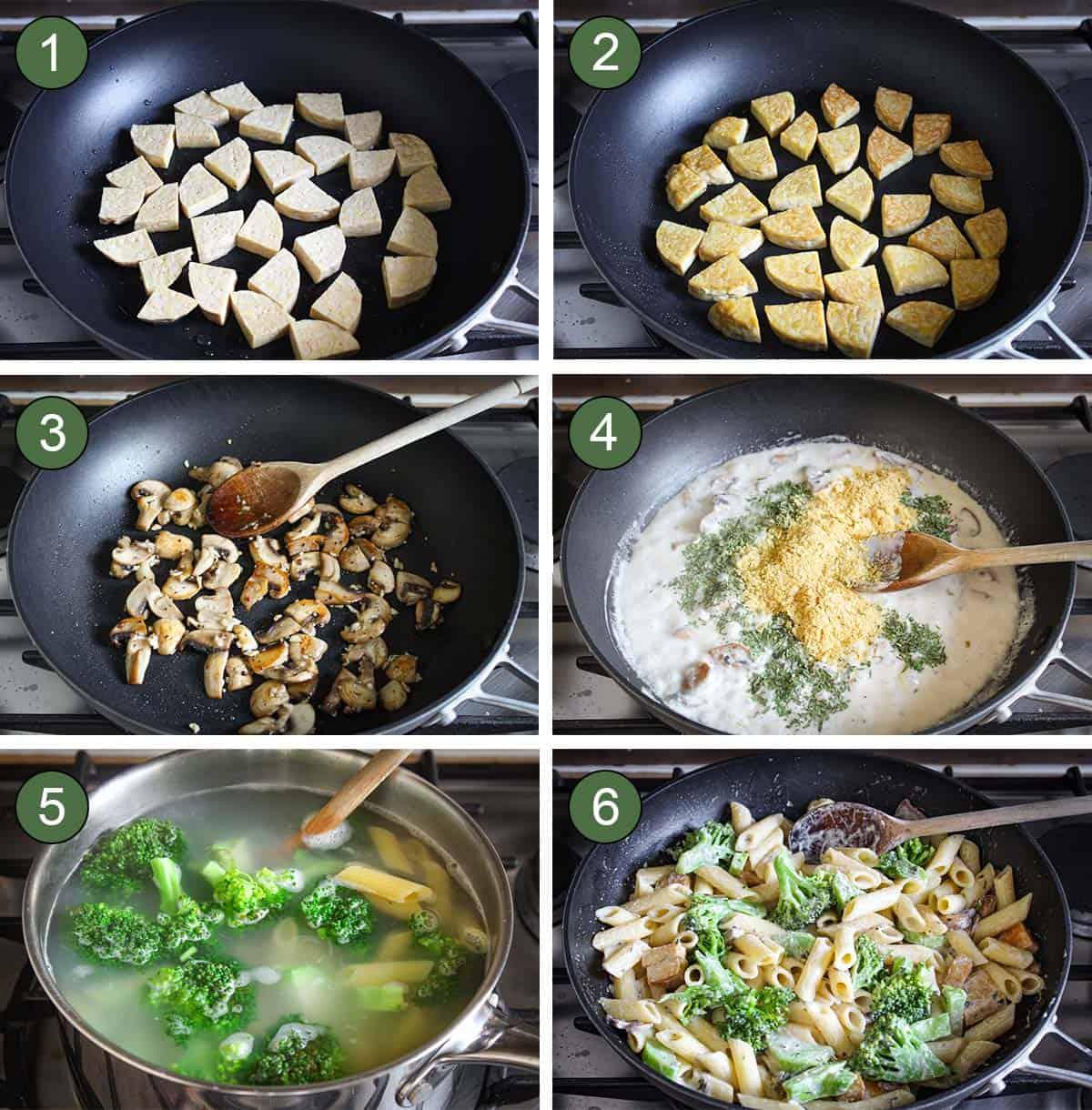 6 Process Shots Showing How to Make Creamy Vegan Pasta
