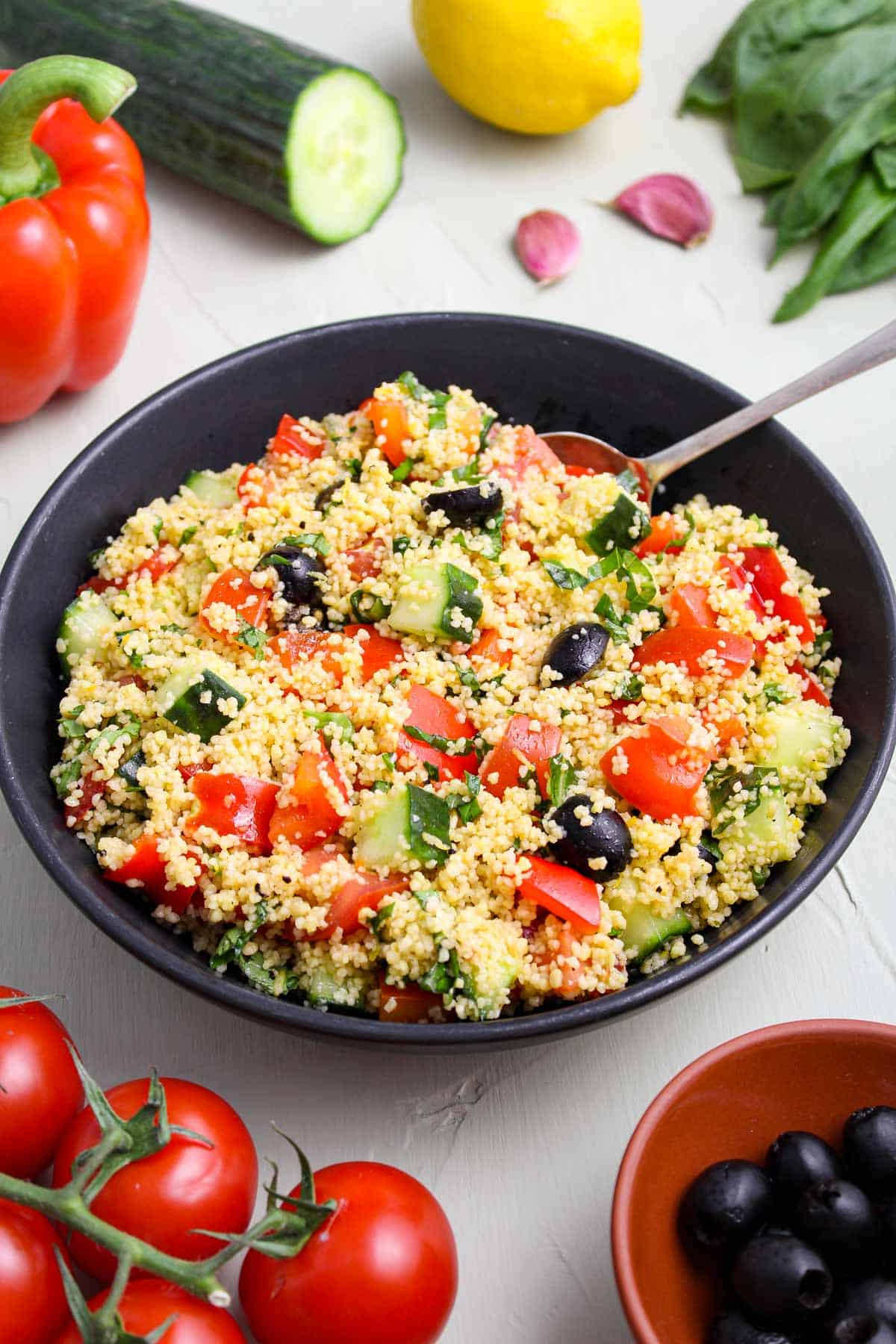Mediterranean Couscous Salad Pictured with Ingredients