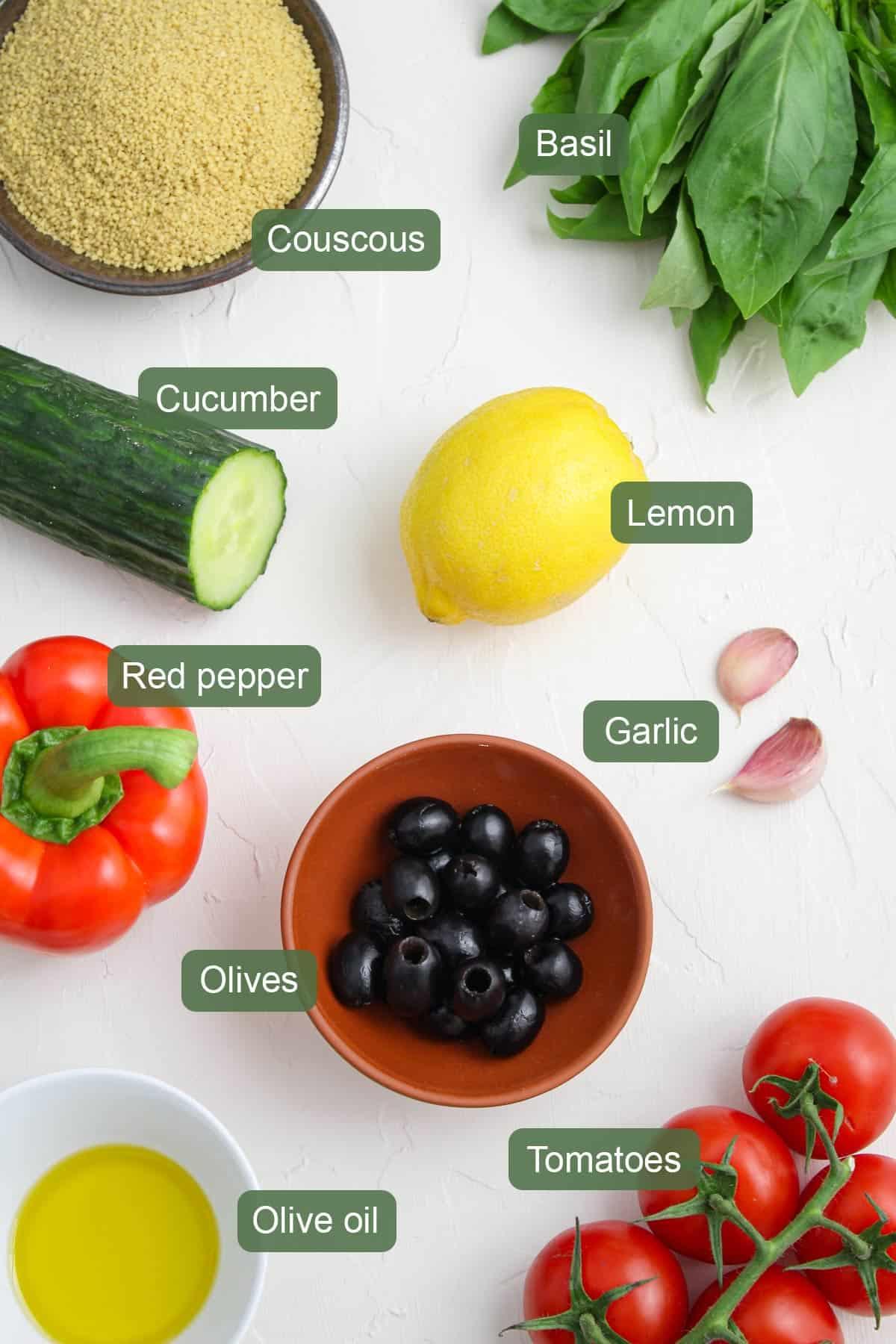 List of Ingredients To Make Vegan Couscous Salad