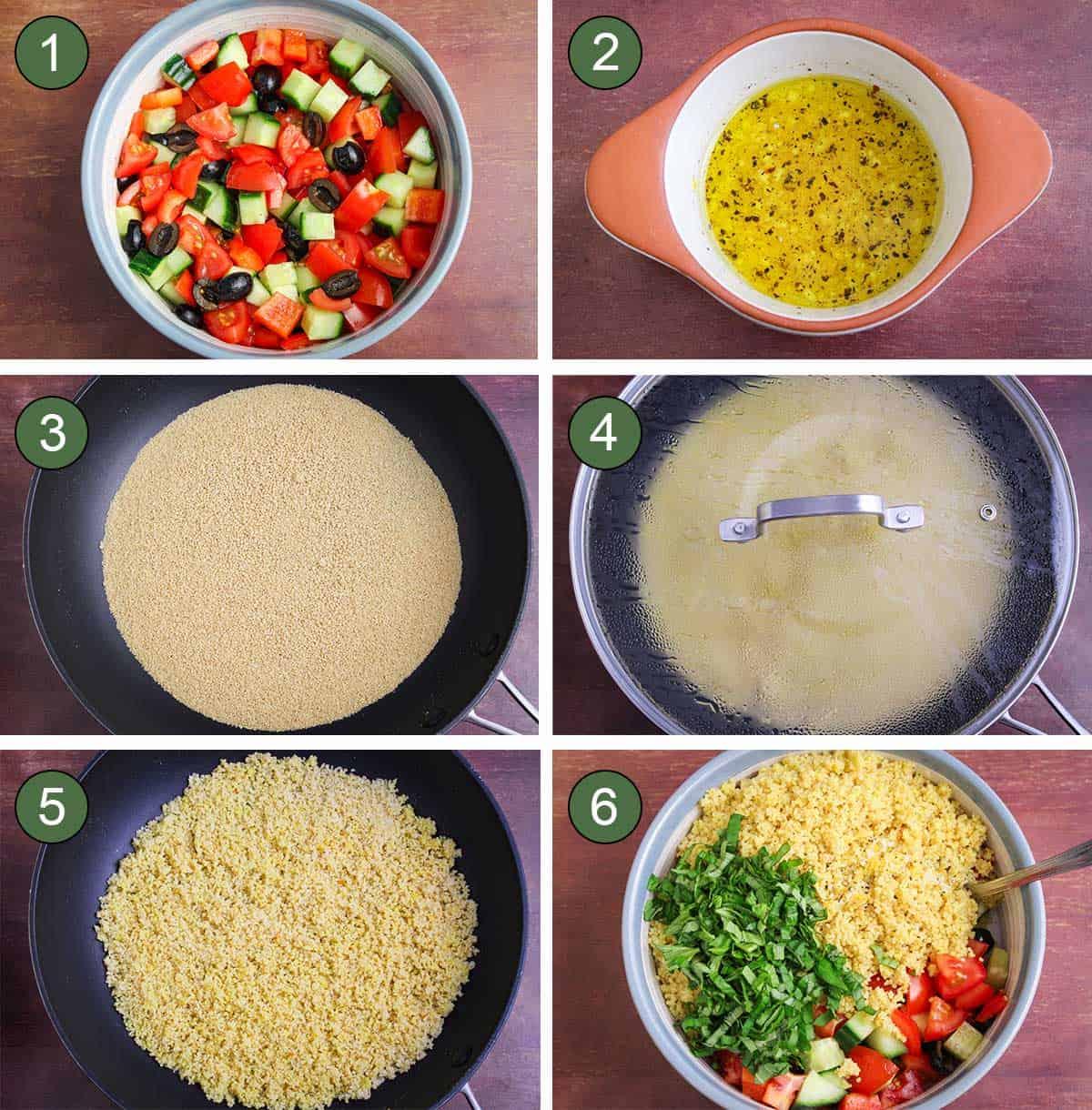 6 Process Shots Showing How to Make Vegan Couscous Salad
