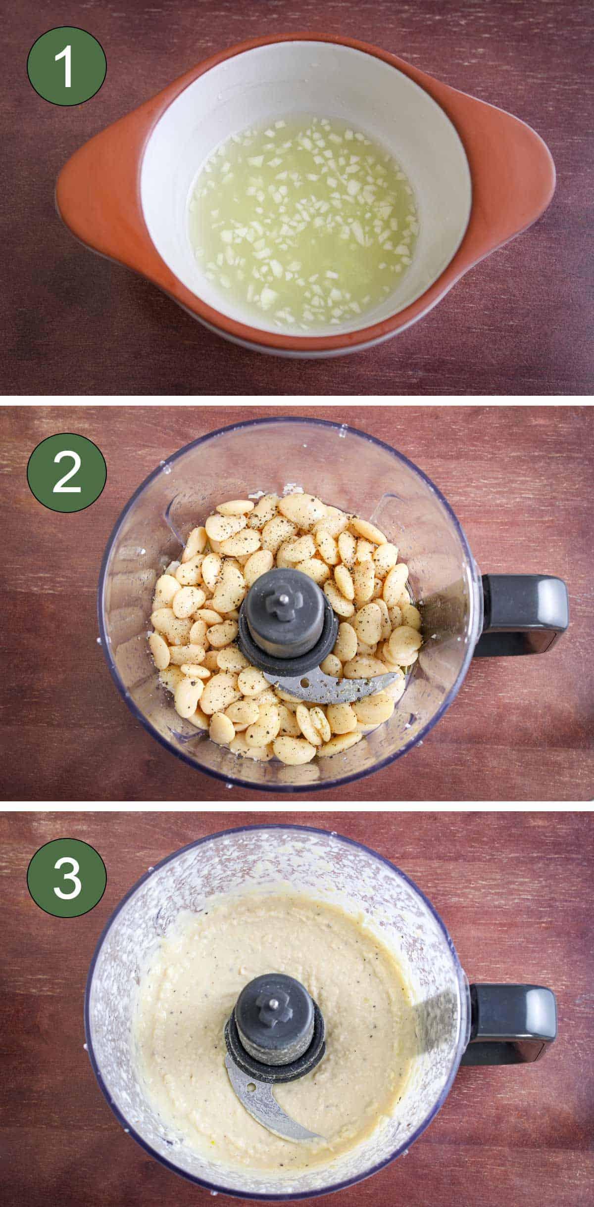Process Shots of How to Make Lima Bean Dip