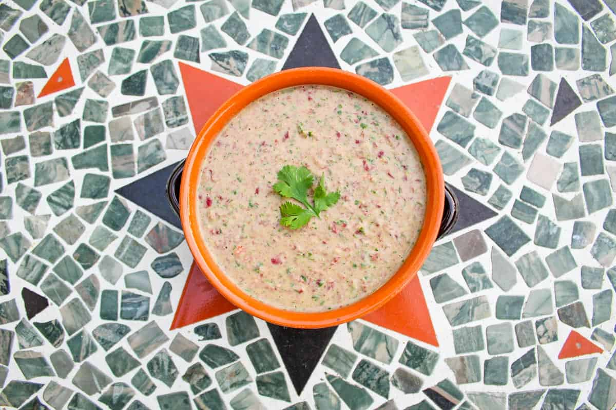 Kidney Bean Dip Served on Outdoor Table
