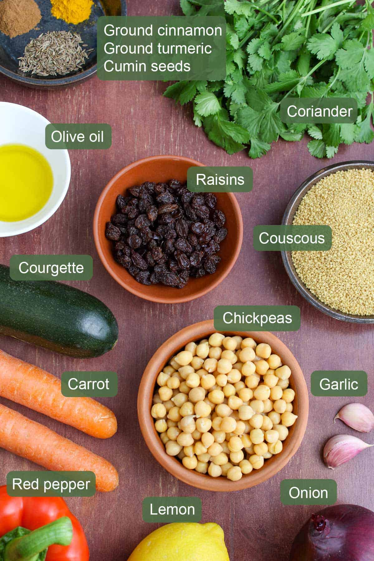 List of Ingredients to Make Moroccan Couscous