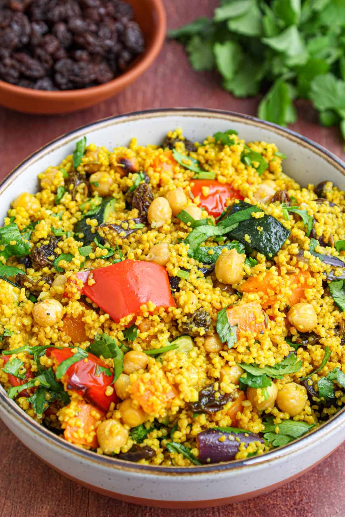 Moroccan Couscous with Roasted Veg in Bowl Close-Up