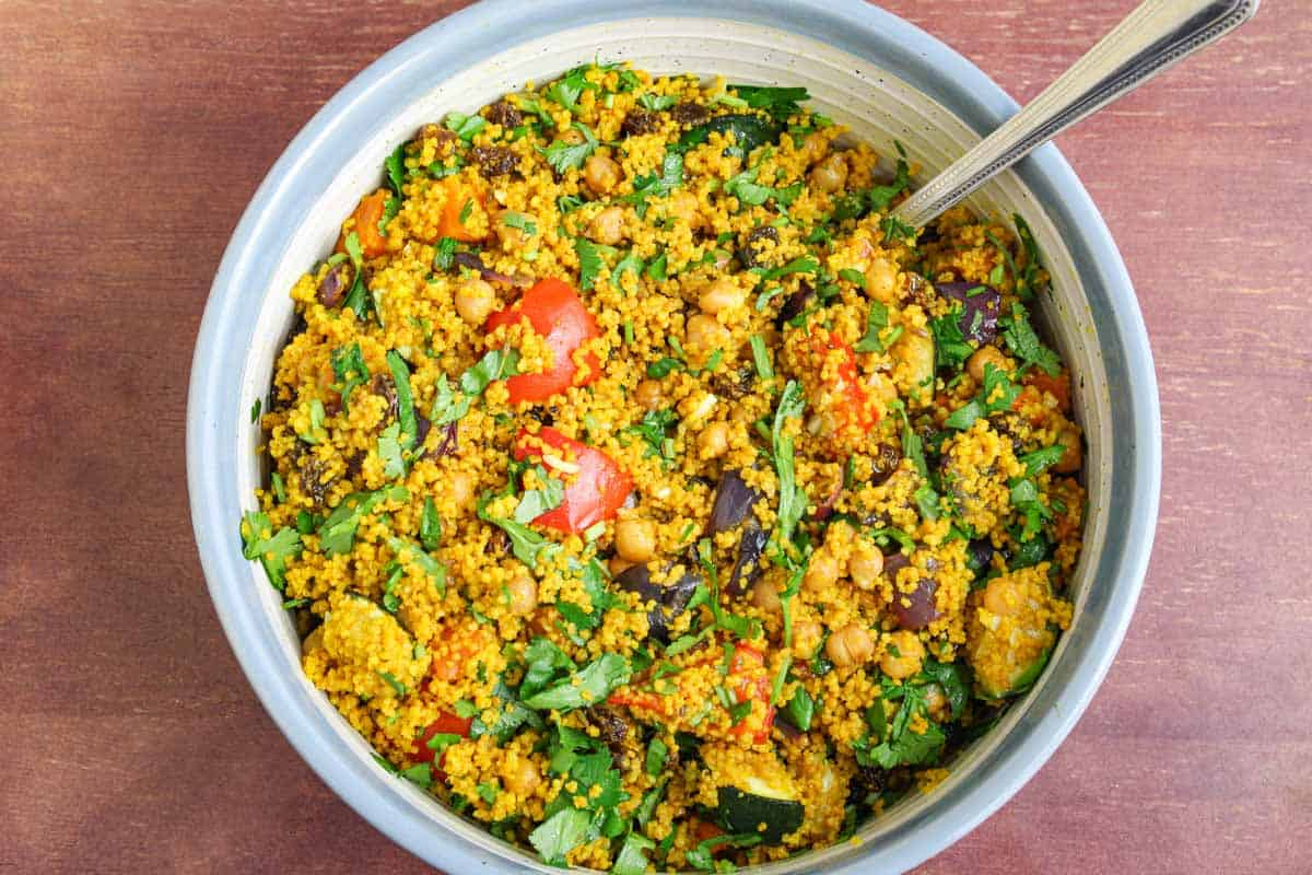 Moroccan Couscous Salad Overhead with Spoon