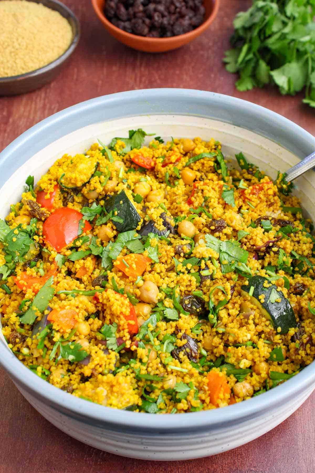Couscous Salad with Chickpeas and Veg in Bowl
