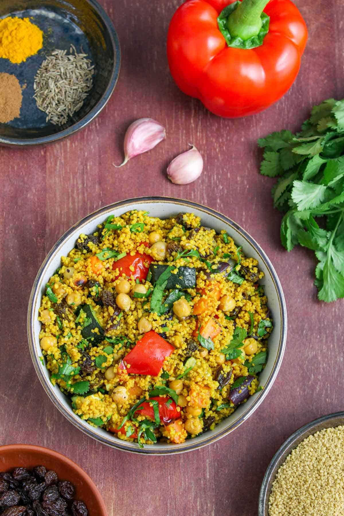 Vegan Moroccan Couscous in Bowl with Selected Ingredients