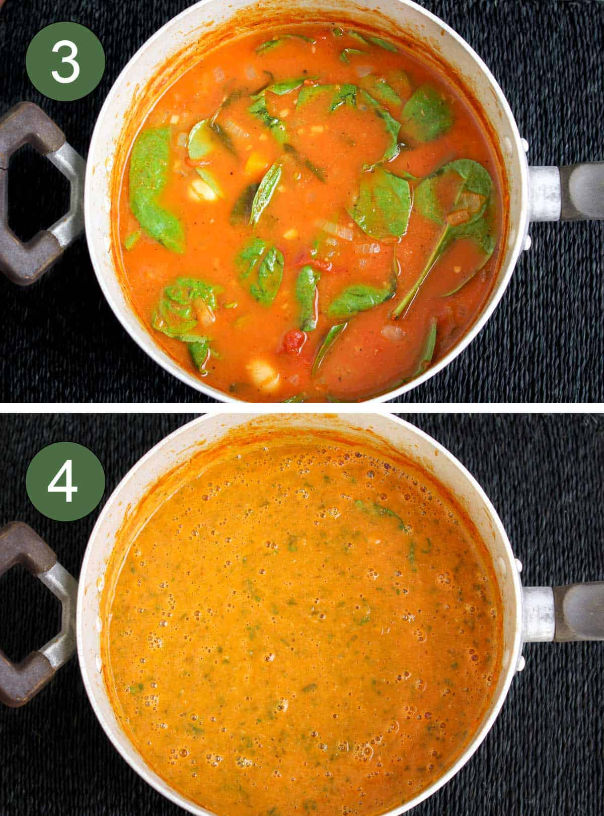 Butter Bean Soup Before and After Blending