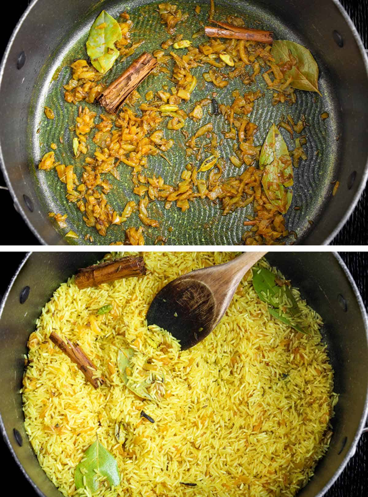 Onions and Spices Frying then Rice Added to Pan