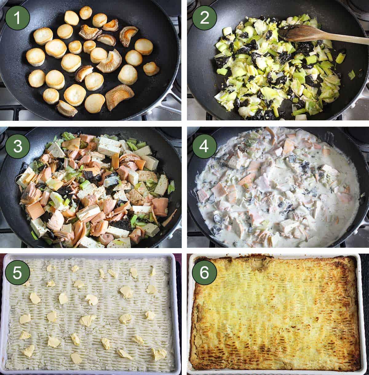 Cooking Process Shots Showing How to Make Vegan Fish Pie