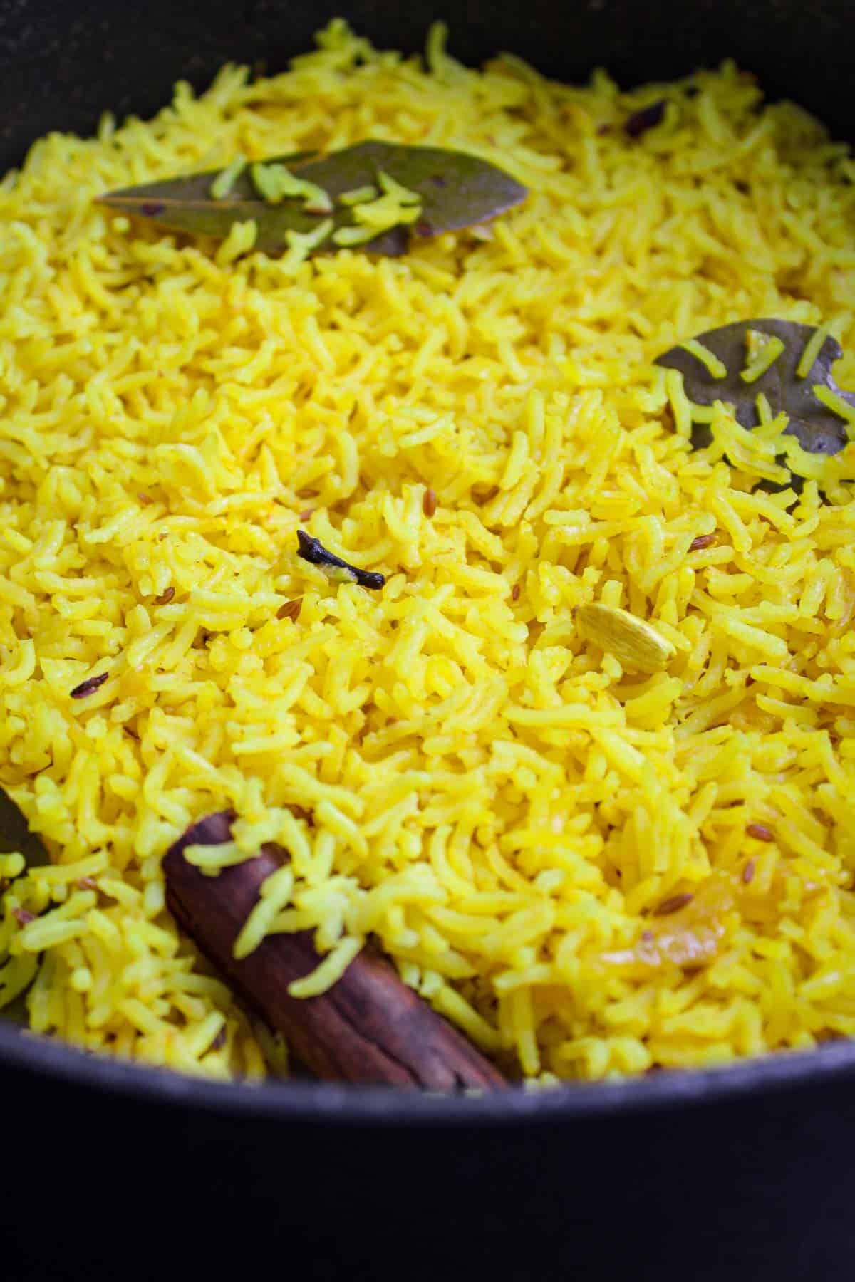 Vegan Pilau Rice Close-Up in Pan