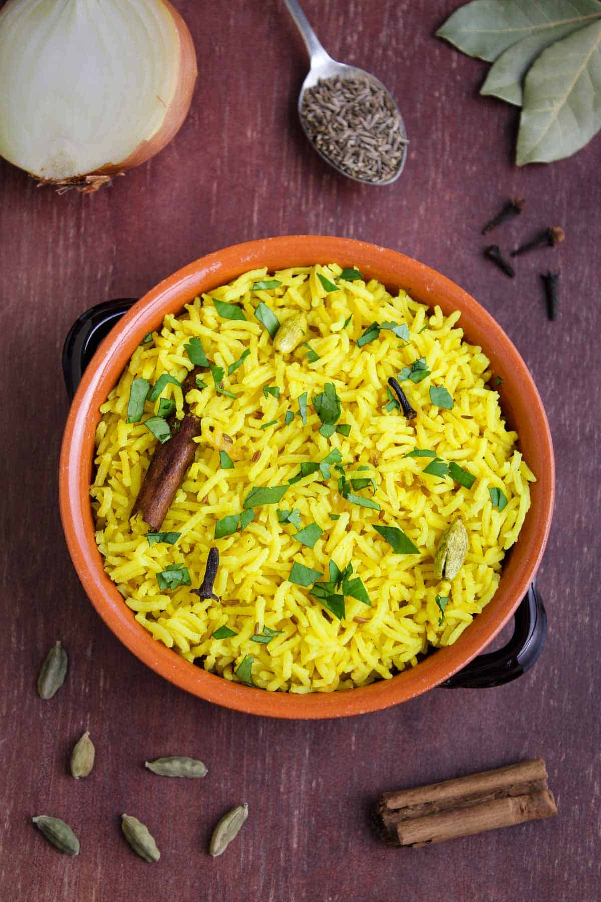 Pilau Rice in Bowl with Spices