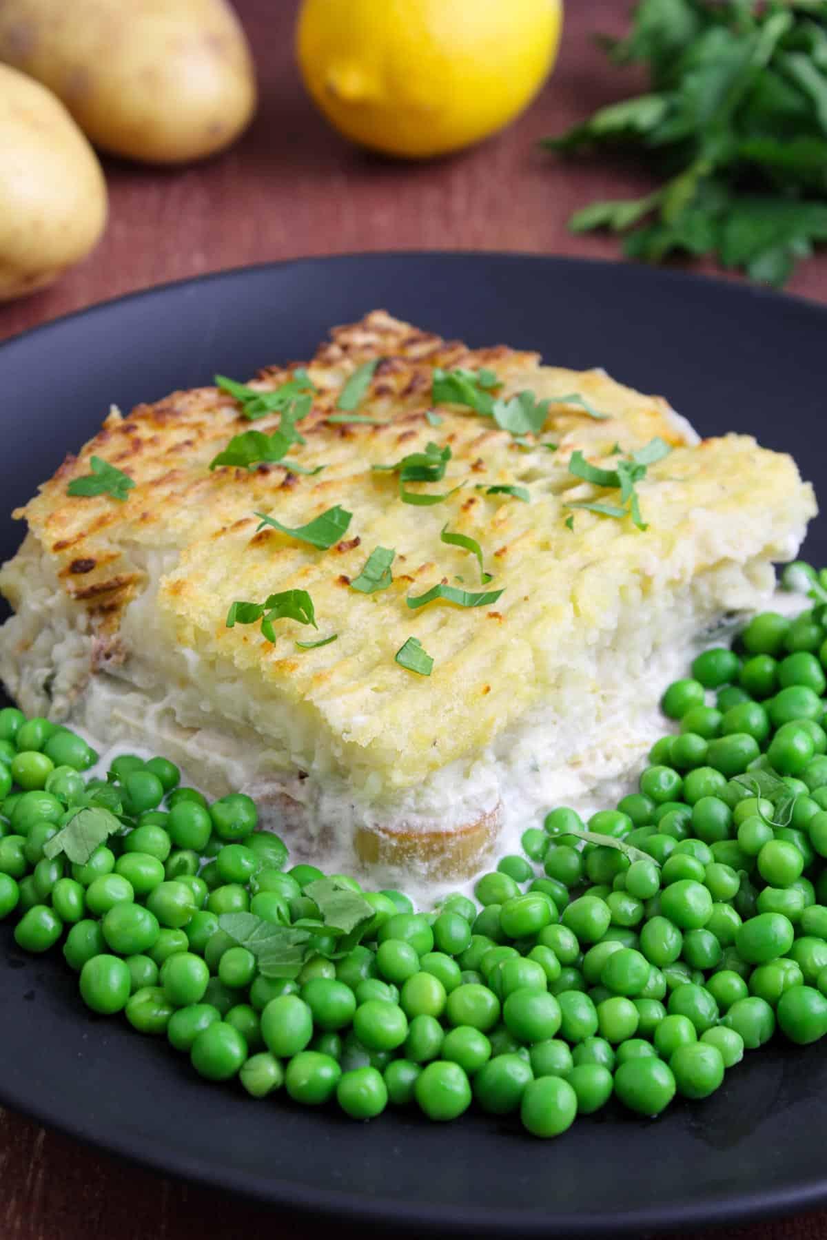 Ultimate Vegan Fish Pie with Peas