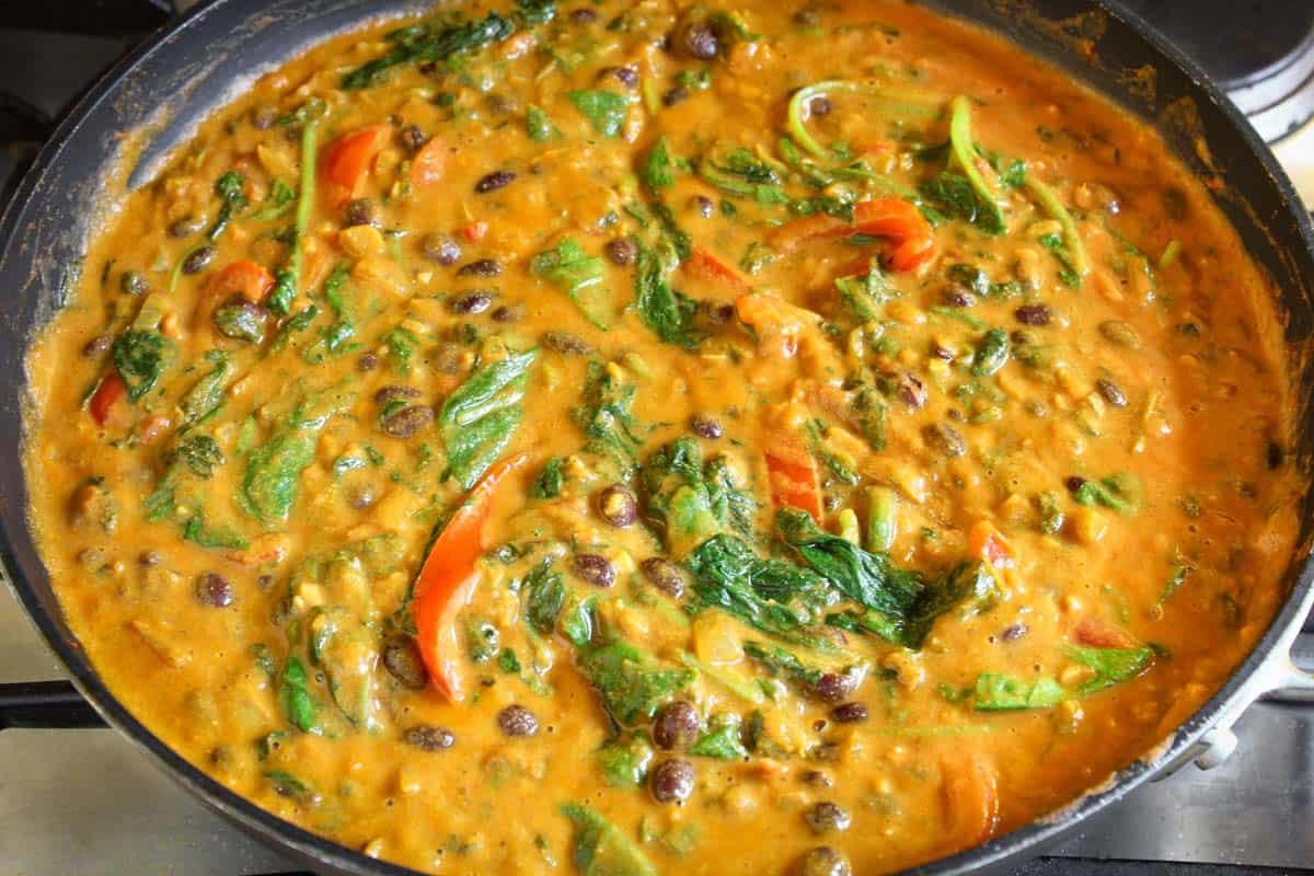 Vegan Black Bean Curry Cooking in Pan