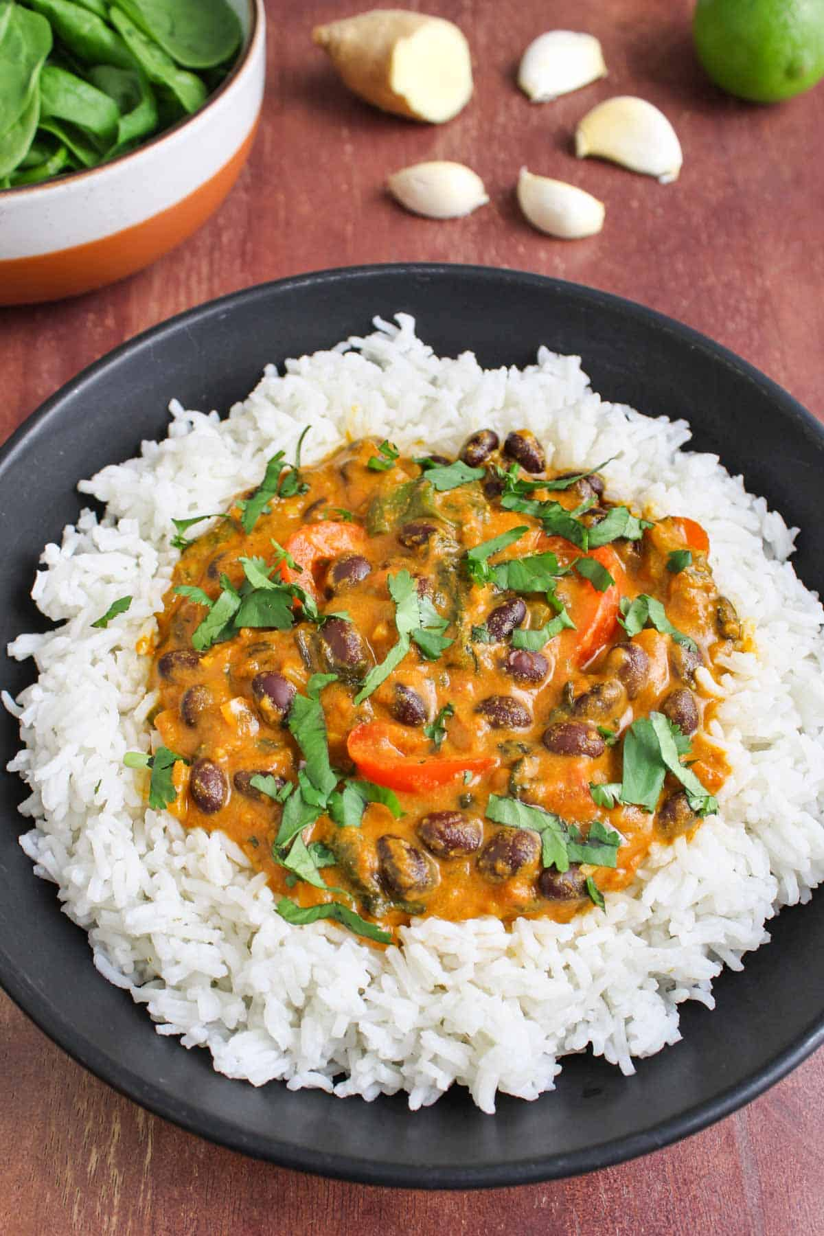 Black Bean Curry with Rice and Coriander