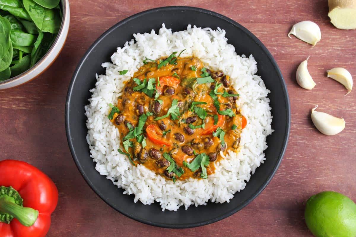 Creamy Black Bean Curry in Bowl