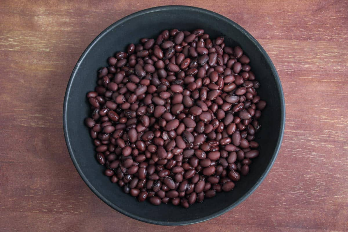 Drained Black Beans in Bowl