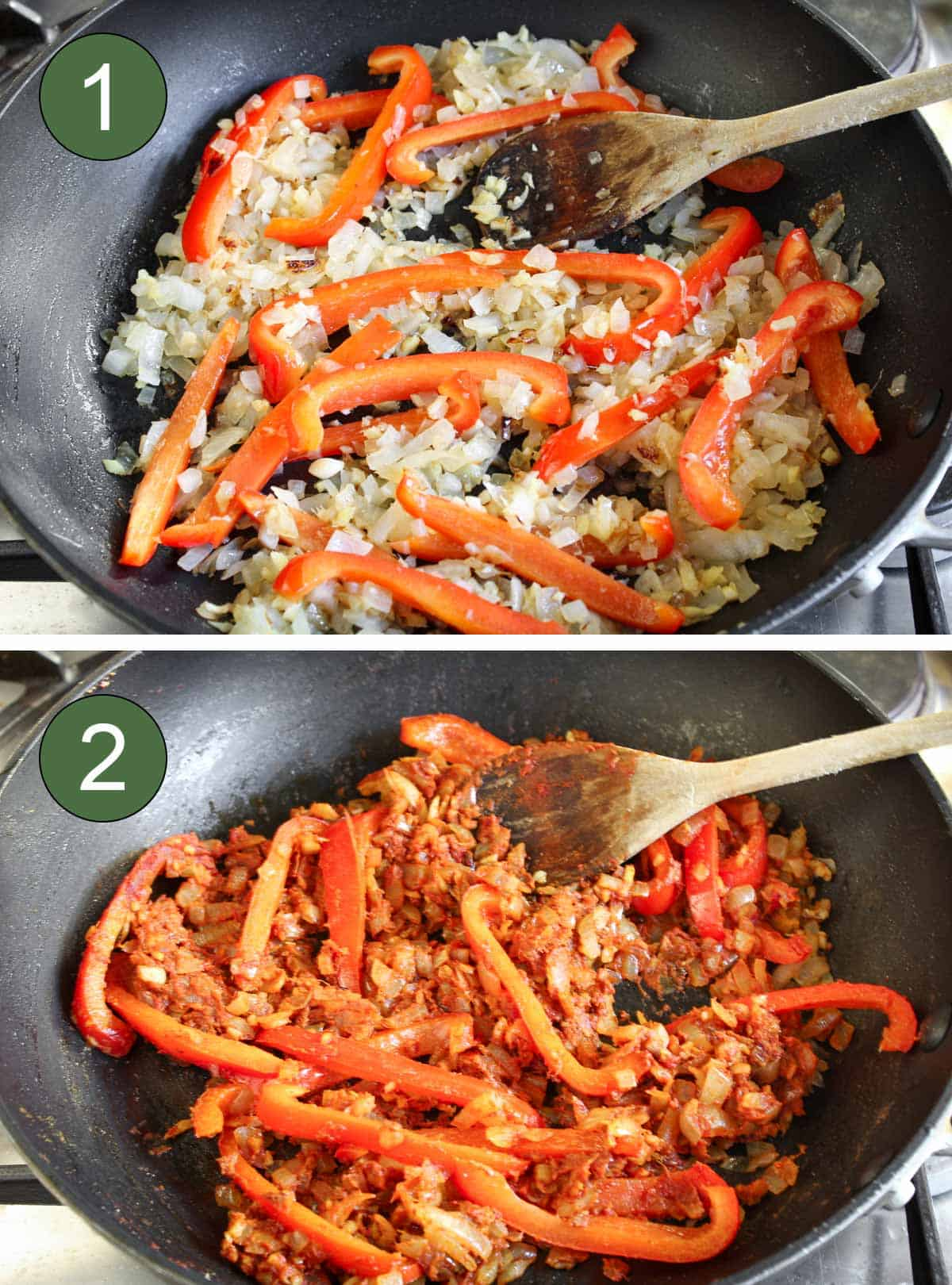 Process Shots Showing Fried Vegetables and Spices in Pan