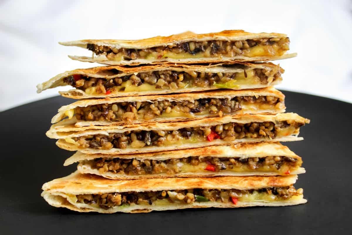 Stack of Vegan Quesadilla Slices