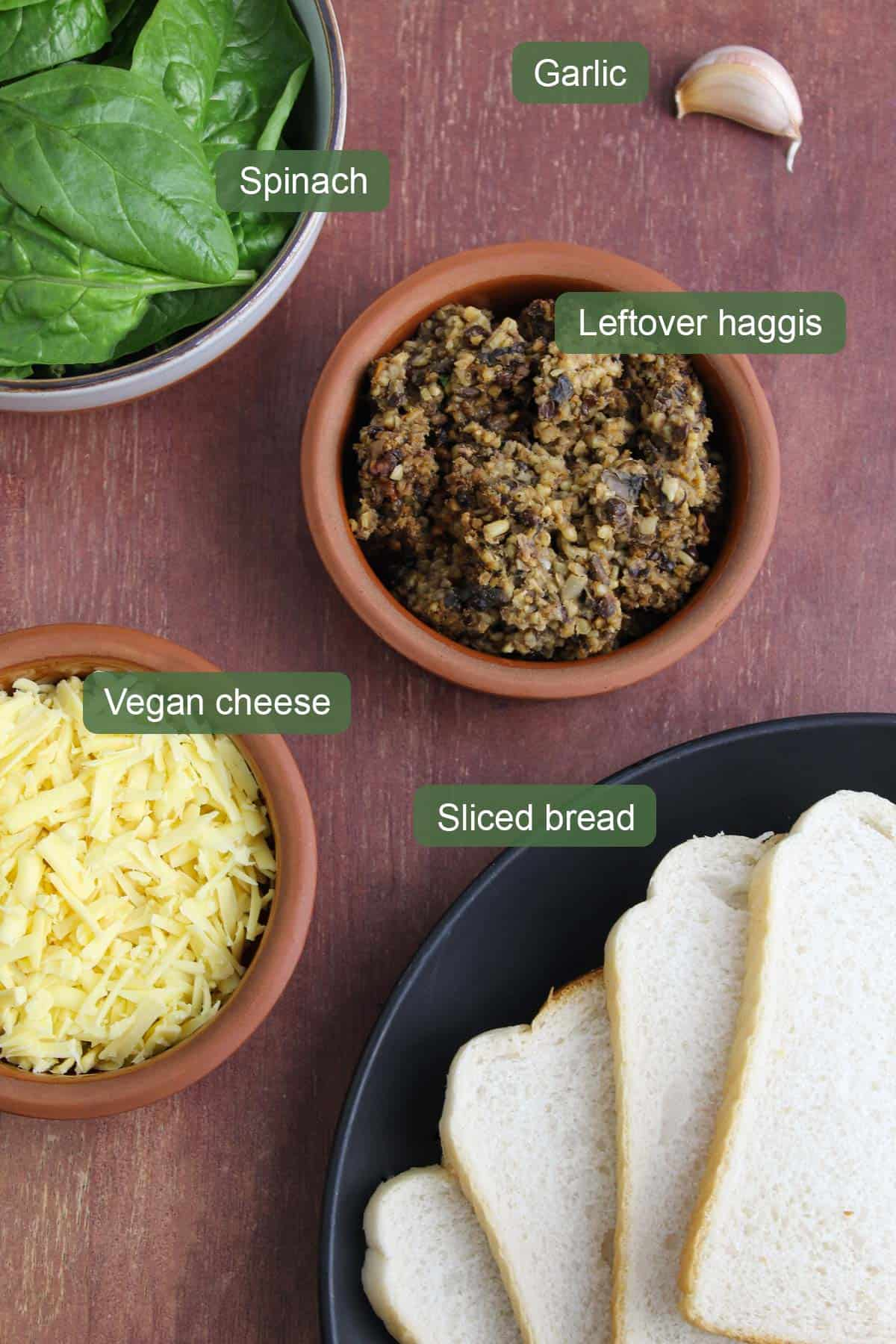 List of Ingredients To Make Haggis Toasted Sandwich