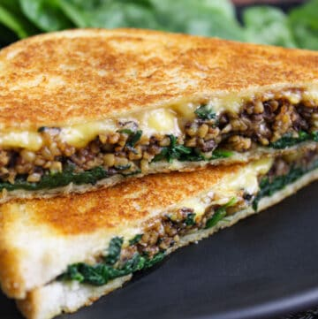 Vegan Toastie with Haggis, Spinach and Cheese