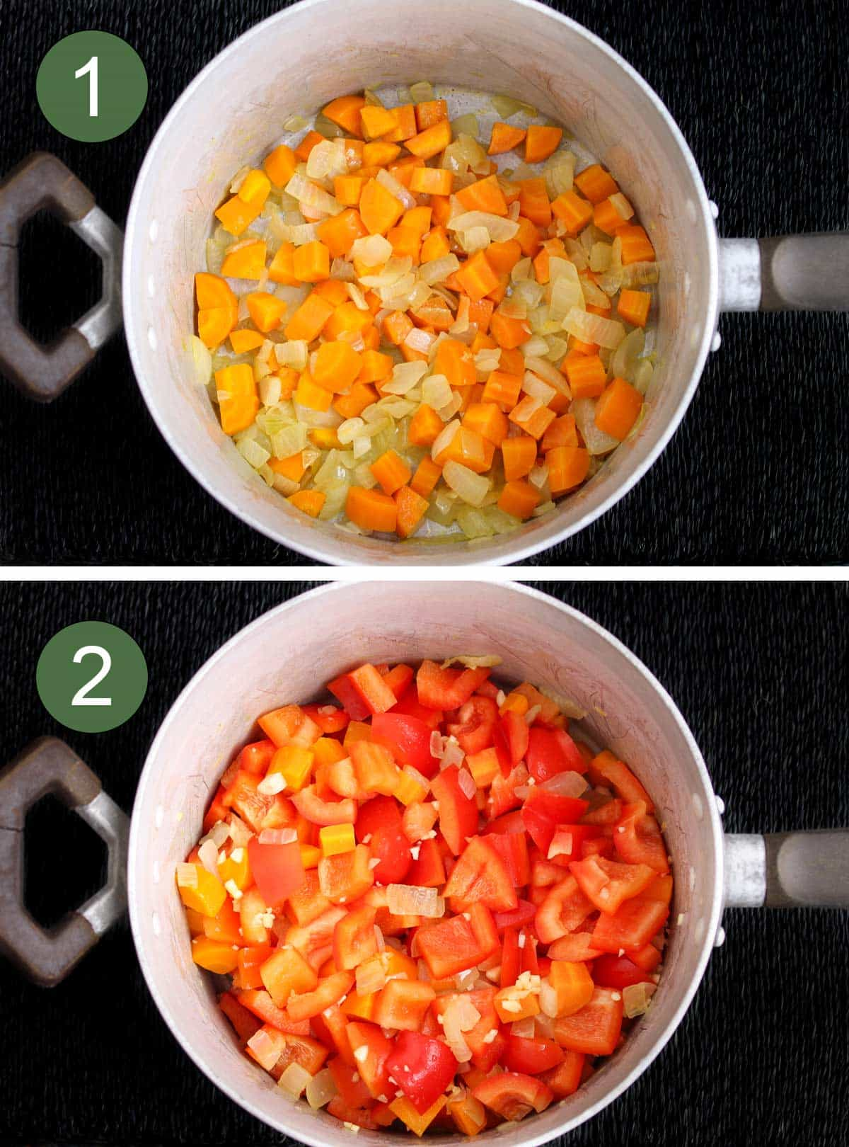Process Shots of Frying Vegetables in Large Soup Pan
