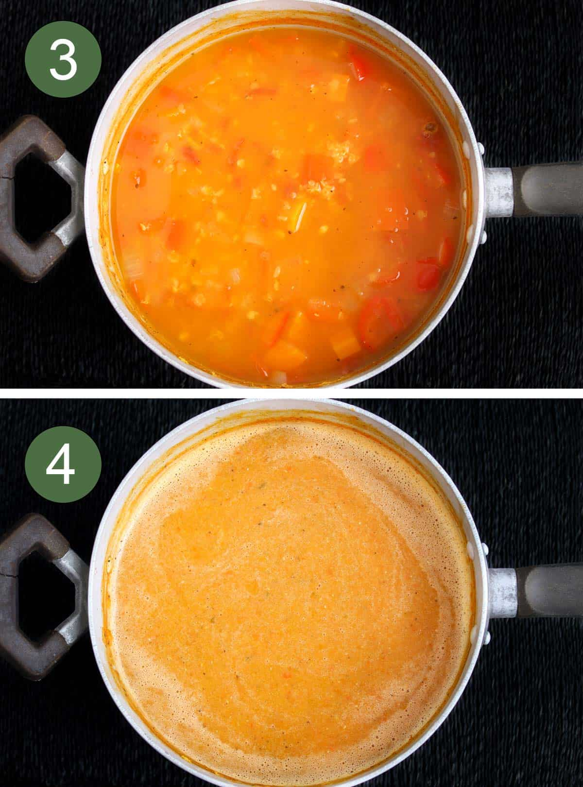 Red Pepper and Lentil Soup Before and After Blending
