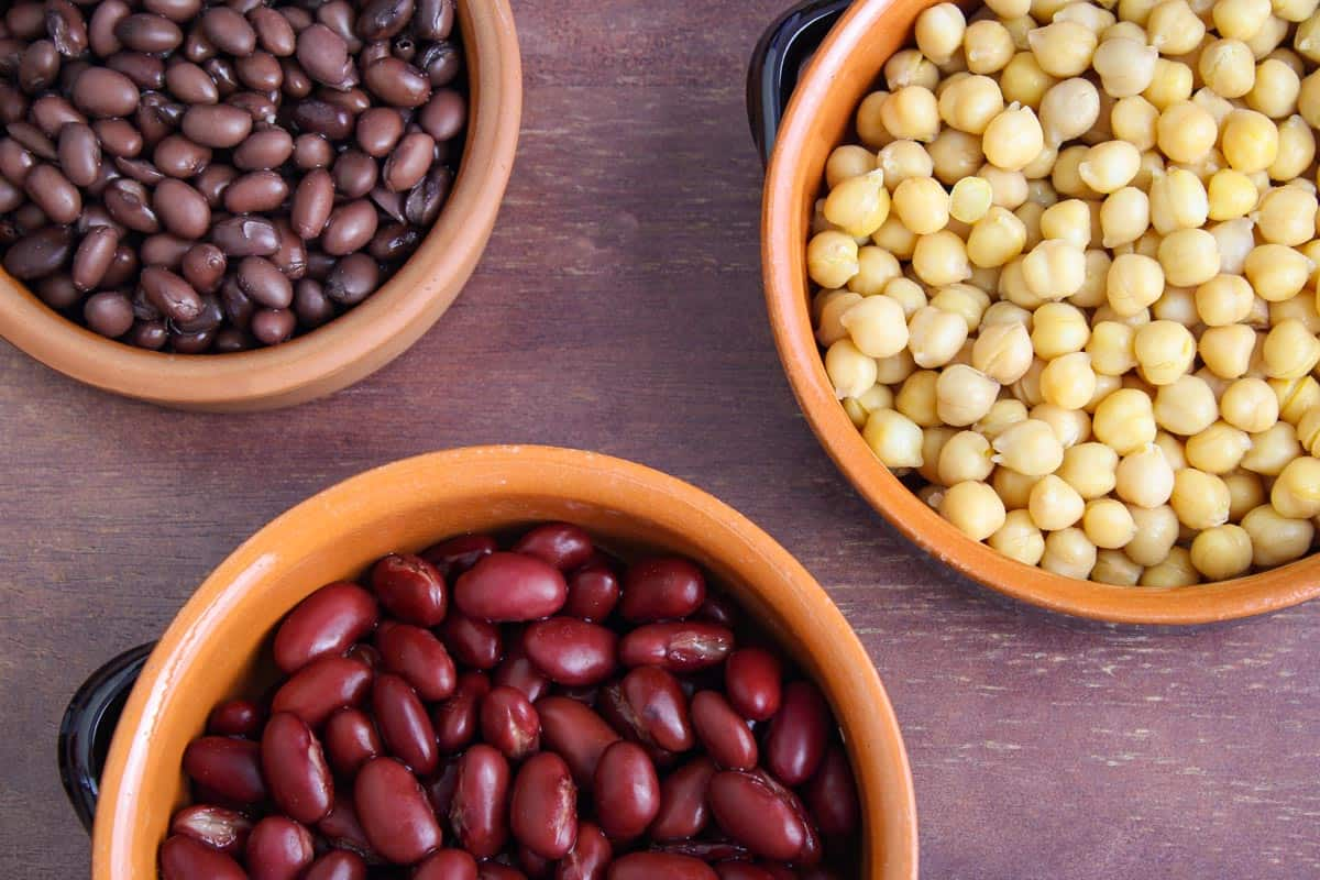 Chickpeas, Kidney Beans and Black Beans in Bowls