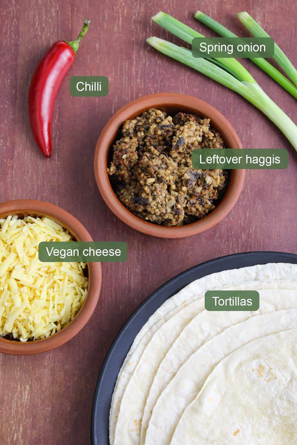 List of Ingredients to Make Haggis Quesadilla