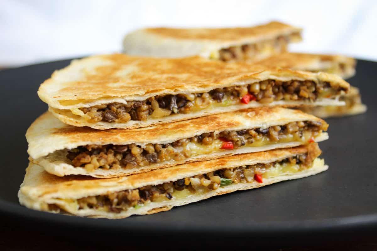 Vegan Haggis Quesadilla Slices Close-Up