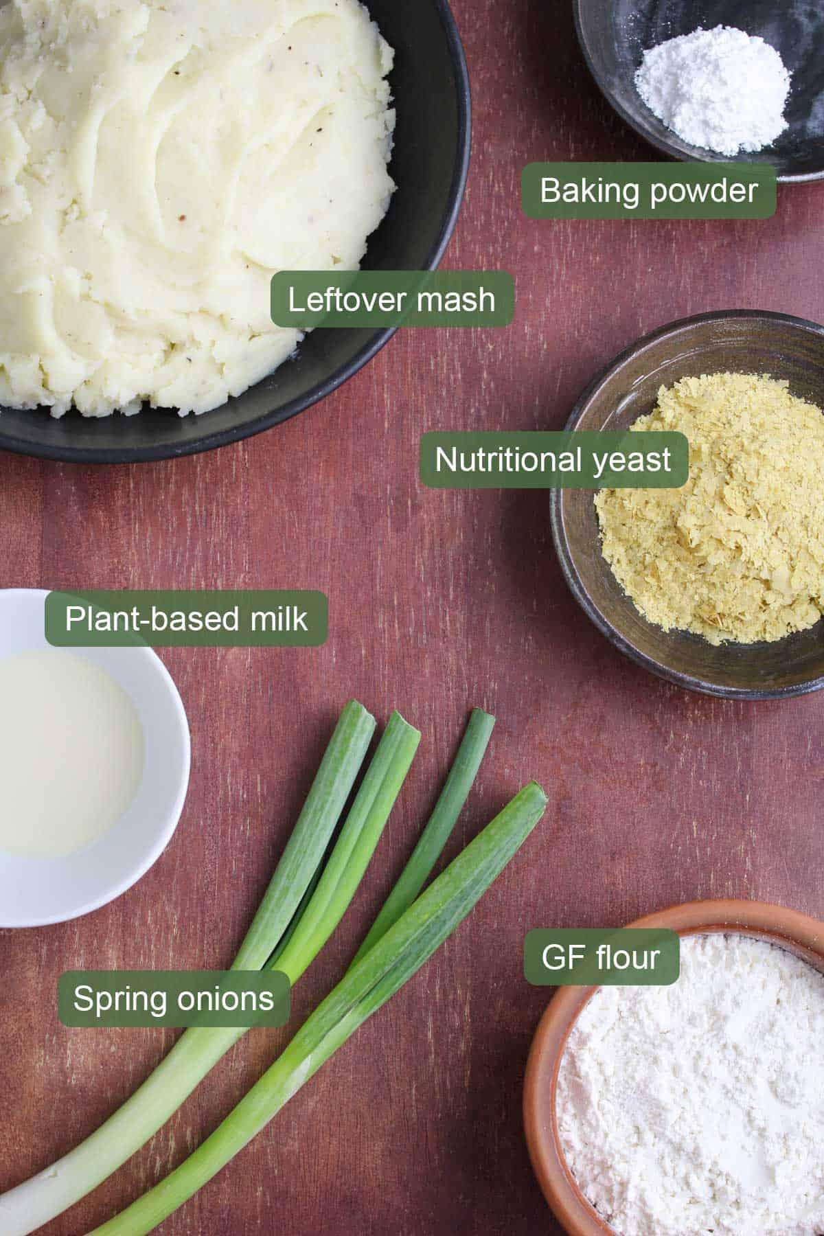 List of Ingredients to Make Vegan Potato Pancakes Gluten-Free