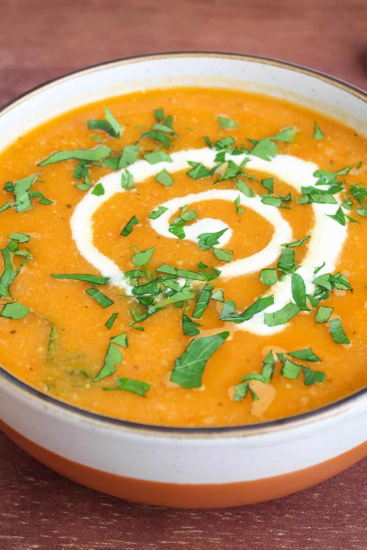 Red Pepper and Lentil Soup in Bowl Close-Up