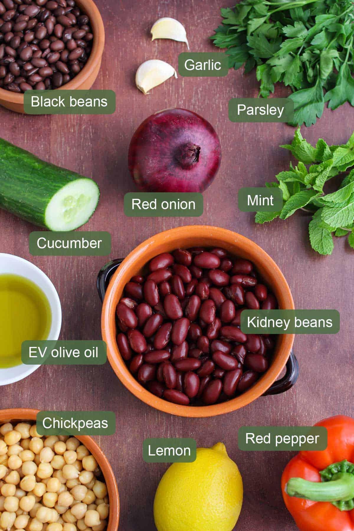 List of Ingredients to Make Three-Bean Salad