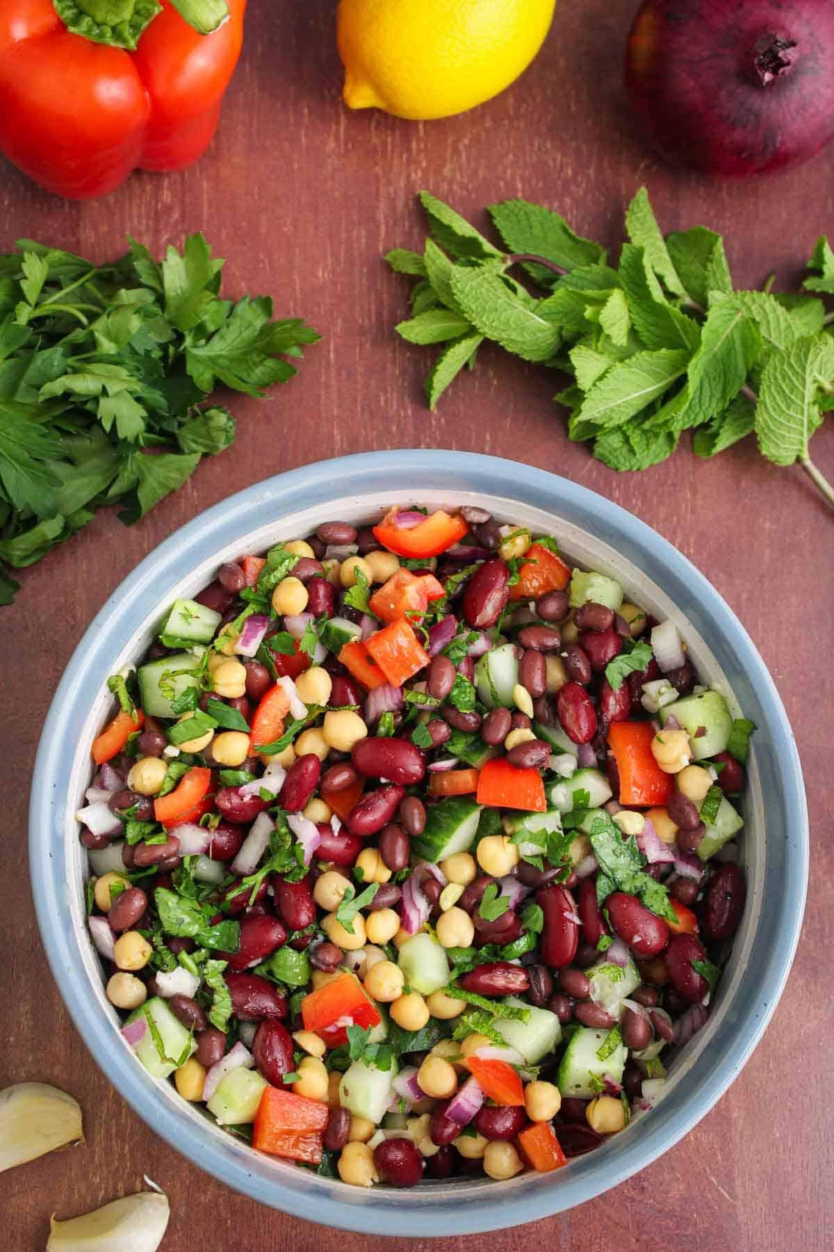 Vegan Three-Bean Salad Overhead Shot with Lemon, Mint and Parsley