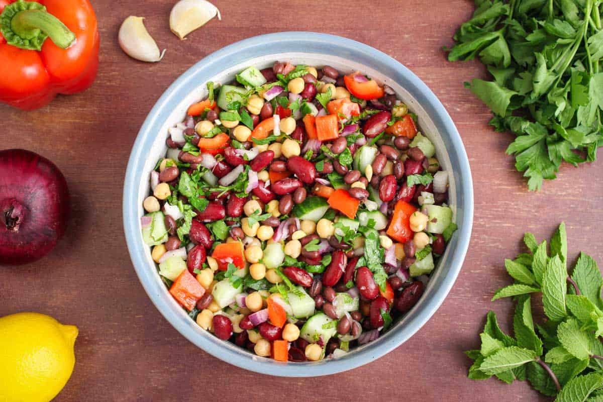 Vegan Bean Salad in Bowl Overhead with Ingredients
