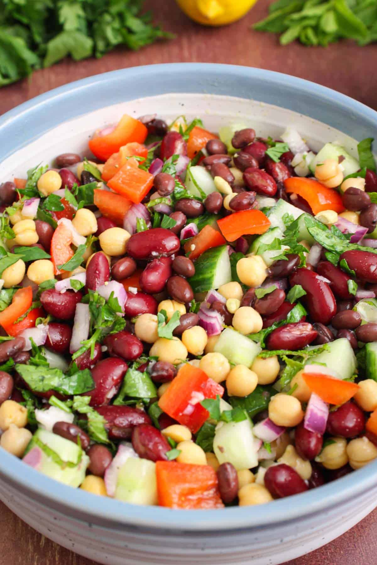 Three-Bean Salad with Lemon, Mint and Parsley in Bowl