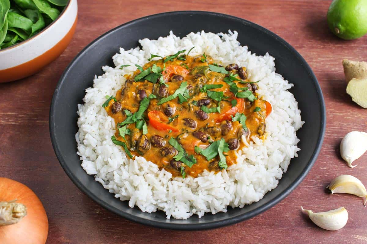Vegan Black Bean Curry and Basmati Rice in Serving Bowl