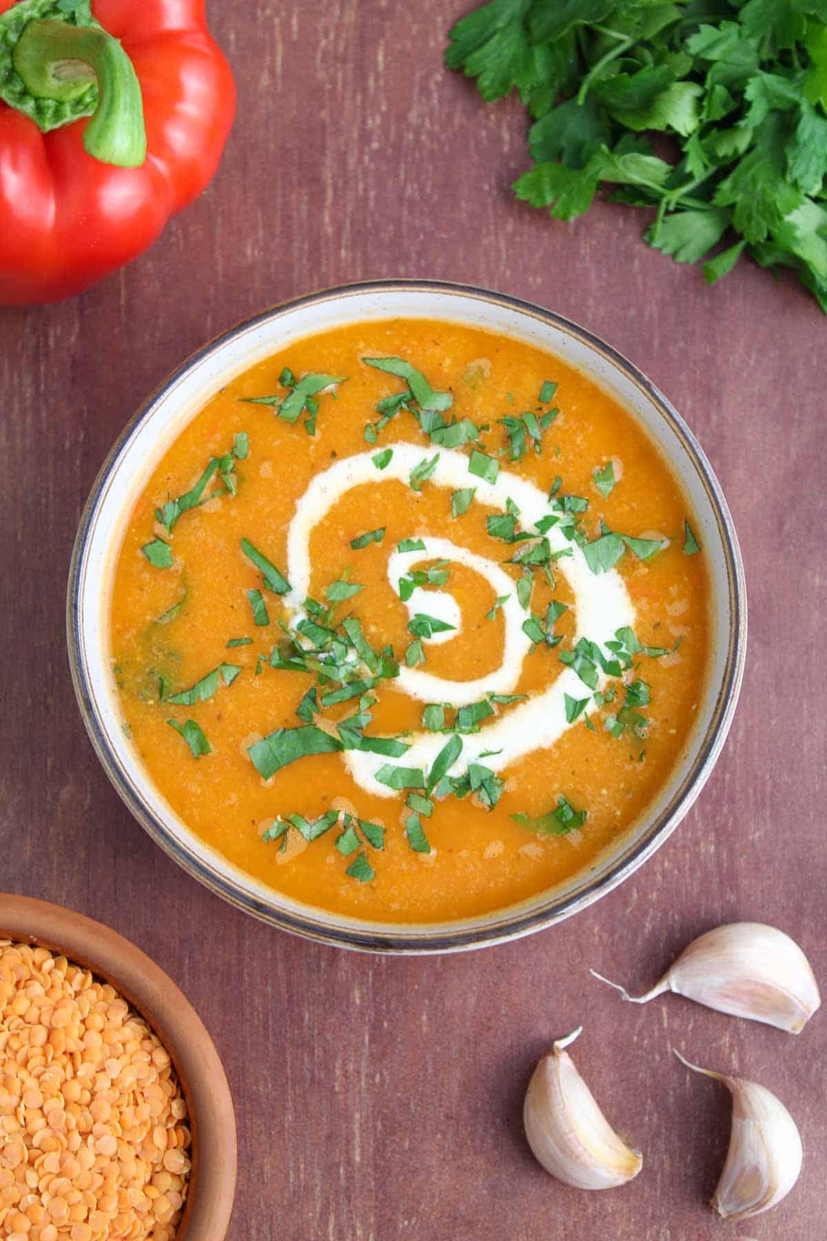 Healthy Lentil Soup in Bowl Overhead