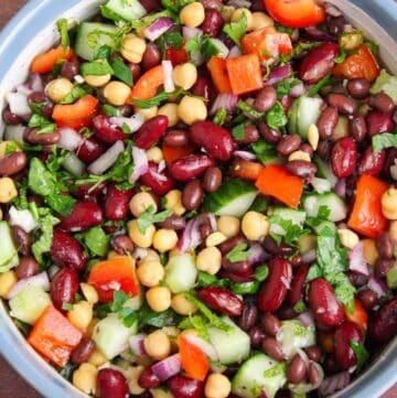 Close-Up of Vegan Bean Salad in Serving Bowl