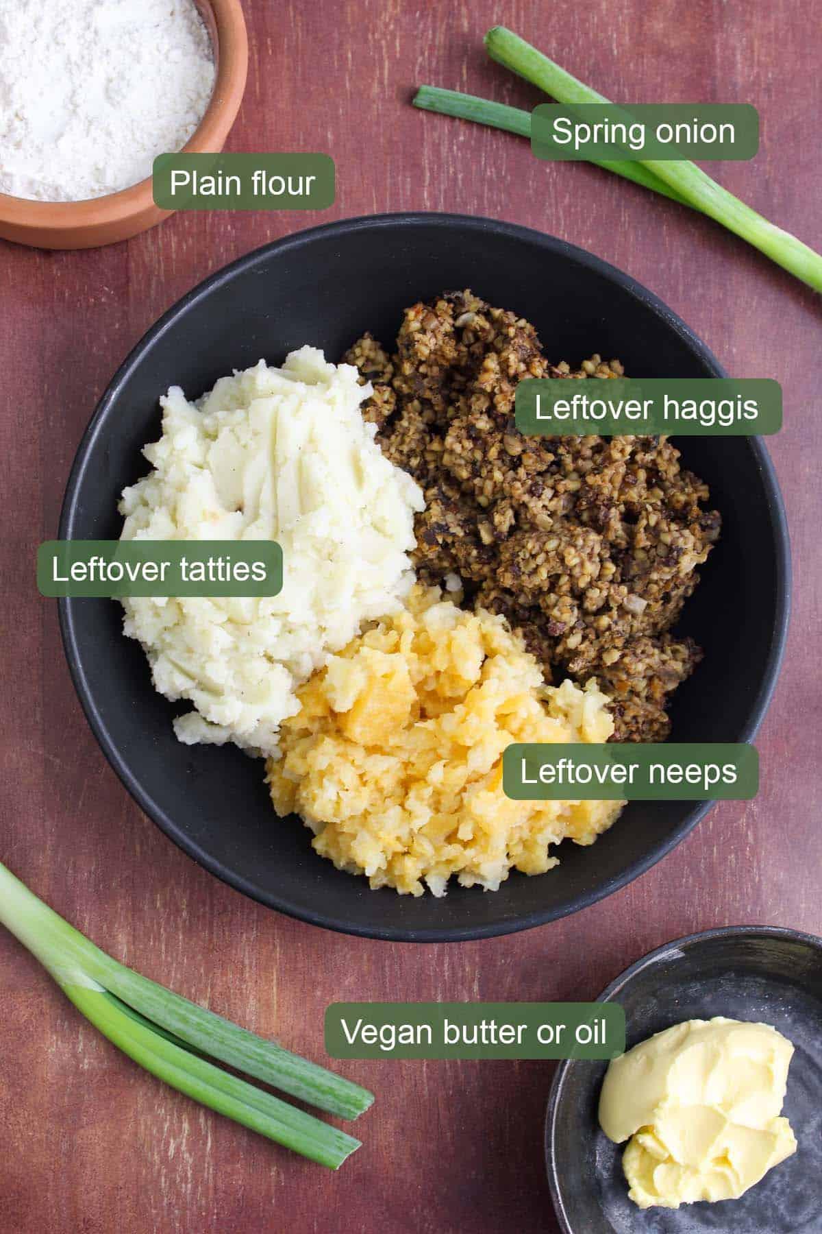 Ingredients to Make Leftover Vegan Haggis Fritters