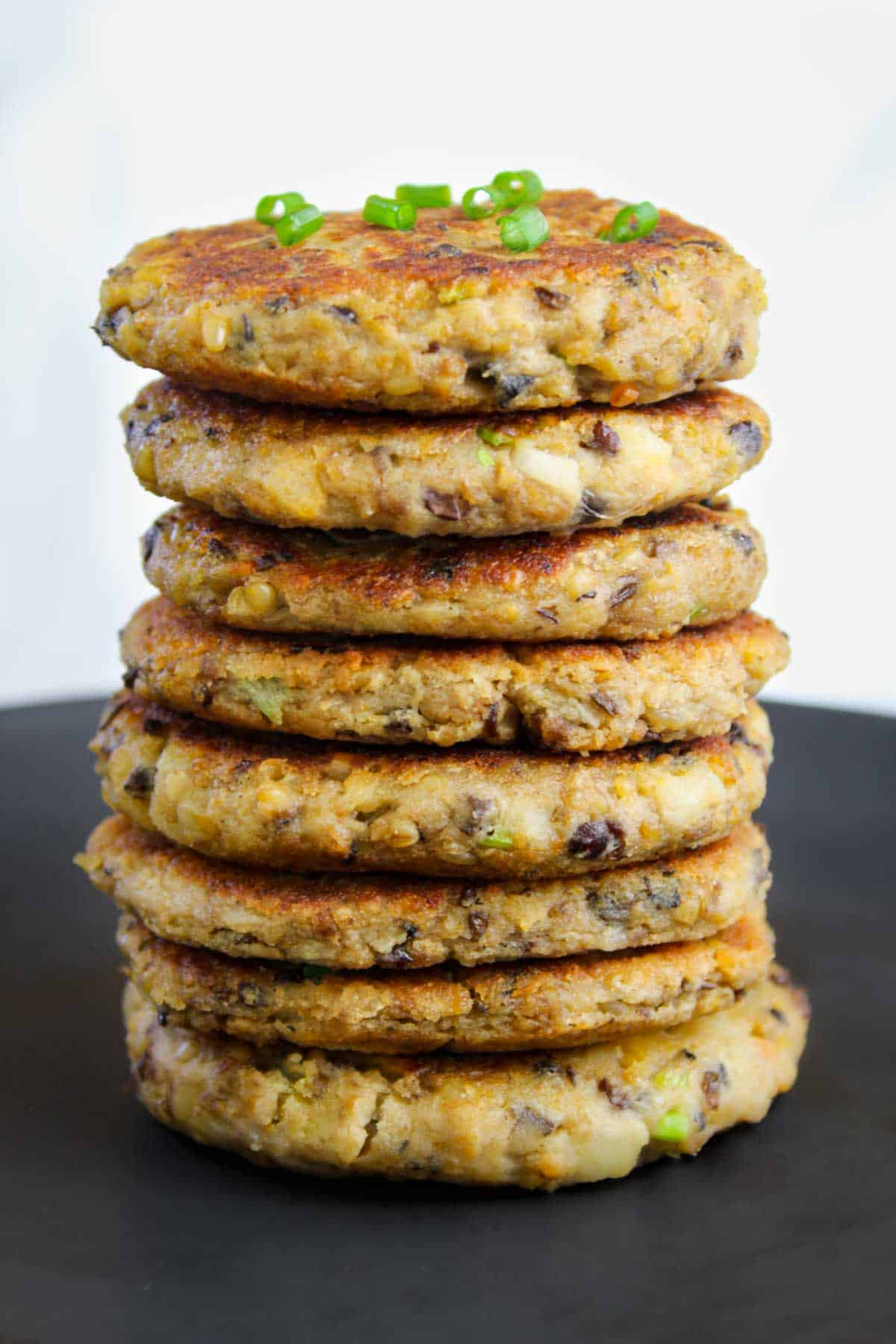 Tall Stack of Haggis Fritters on Plate
