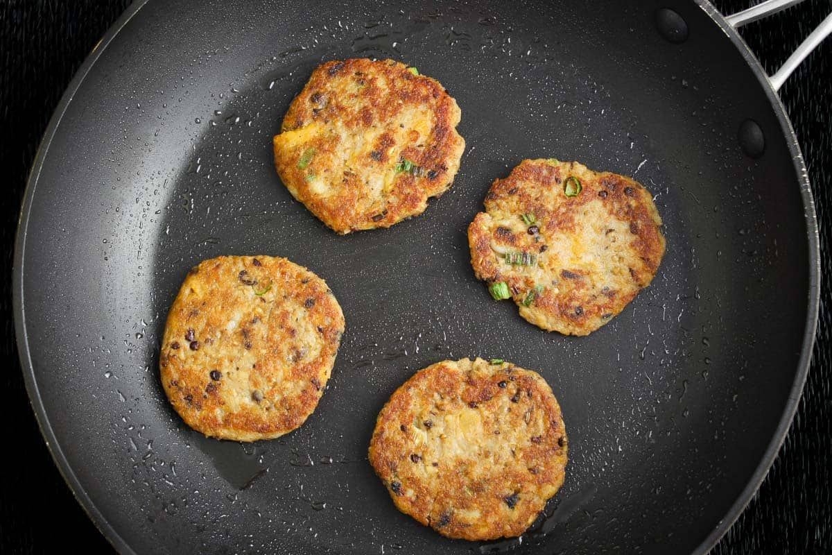 Leftover Haggis Fritters Frying in Pan