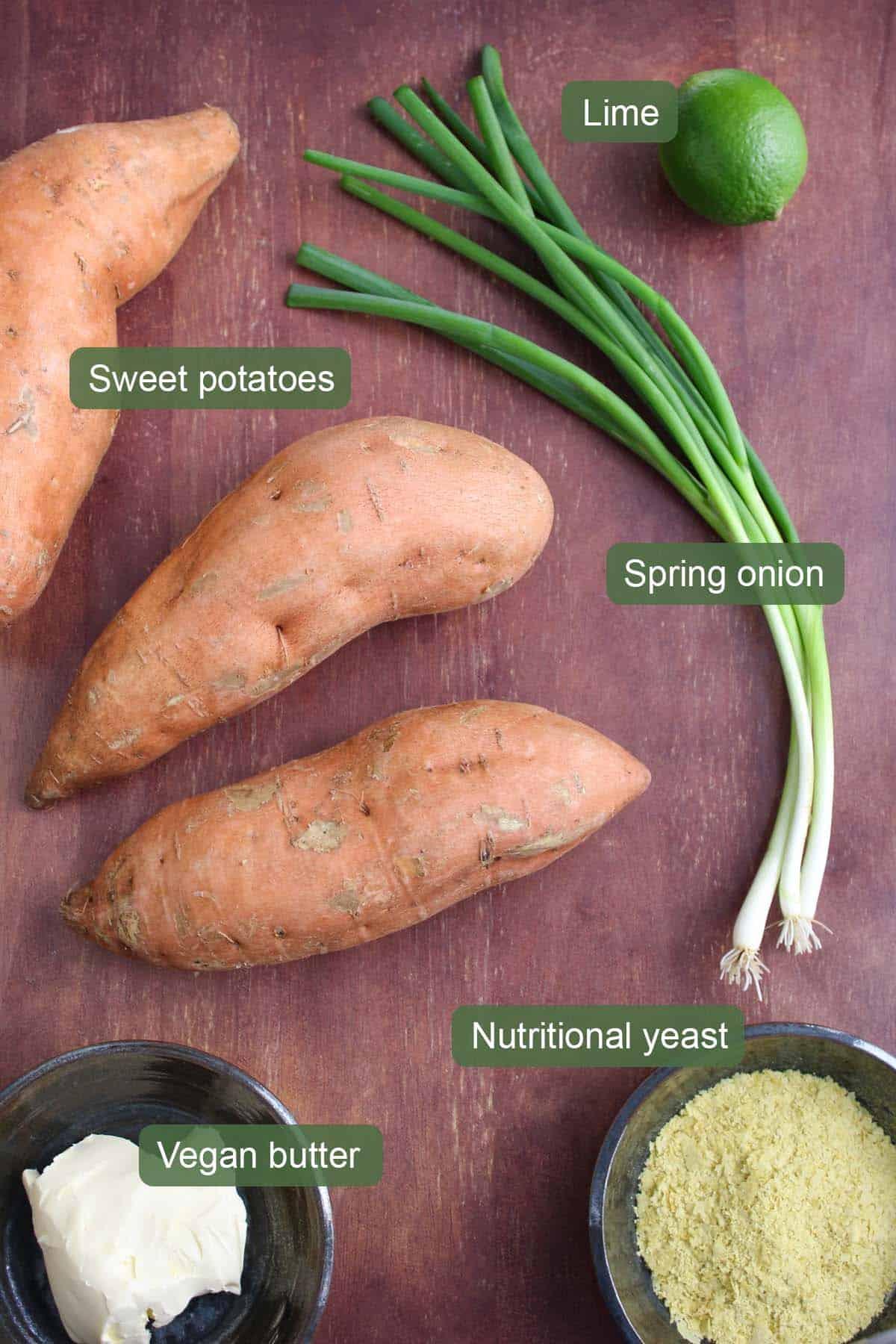List of Ingredients to Make Mashed Sweet Potato