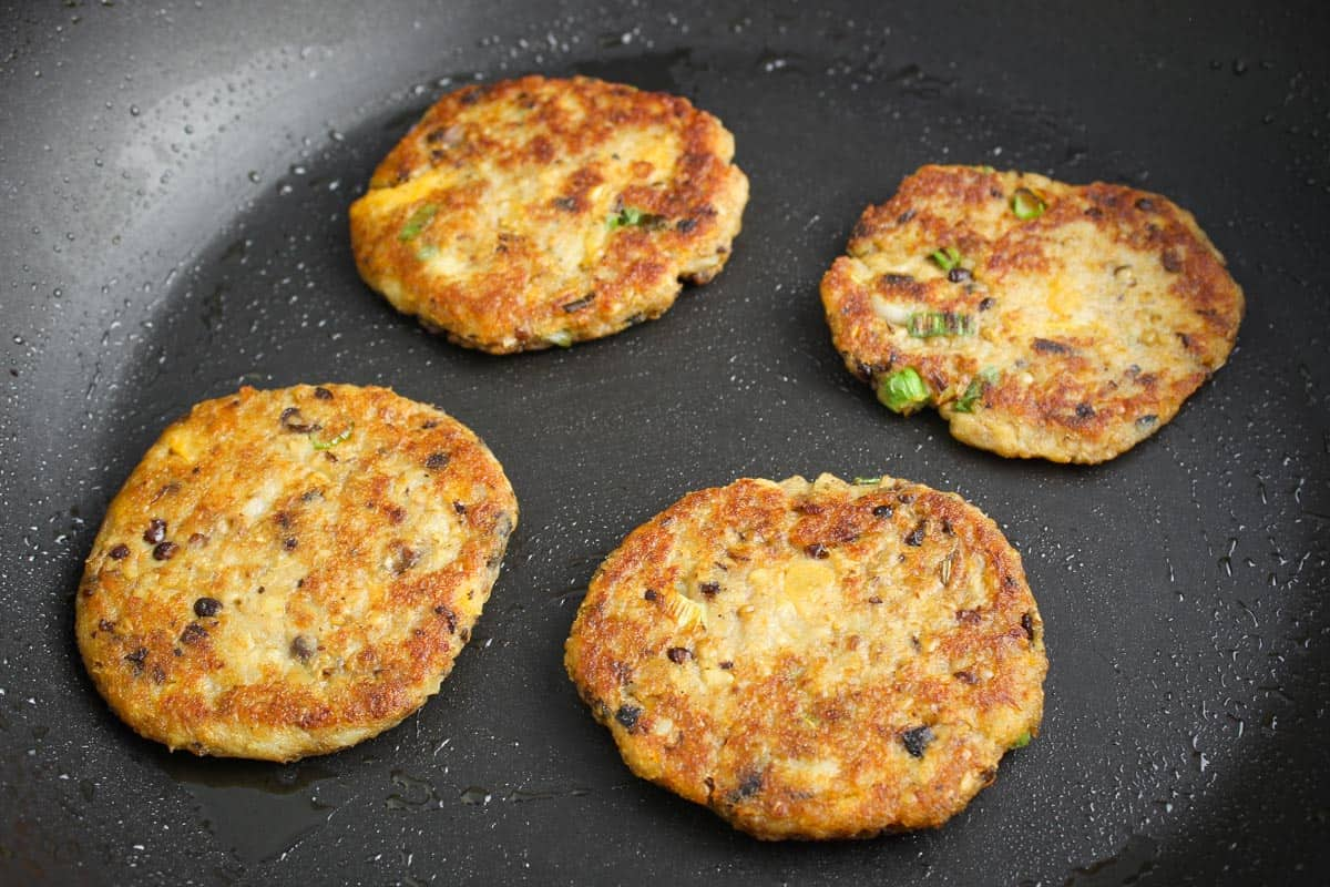 Veggie Haggis Fritters Frying in Pan