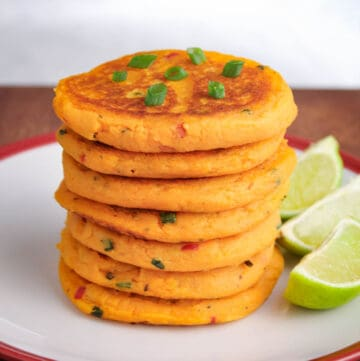 Vegan Sweet Potato Pancake Stack with Lime Wedges